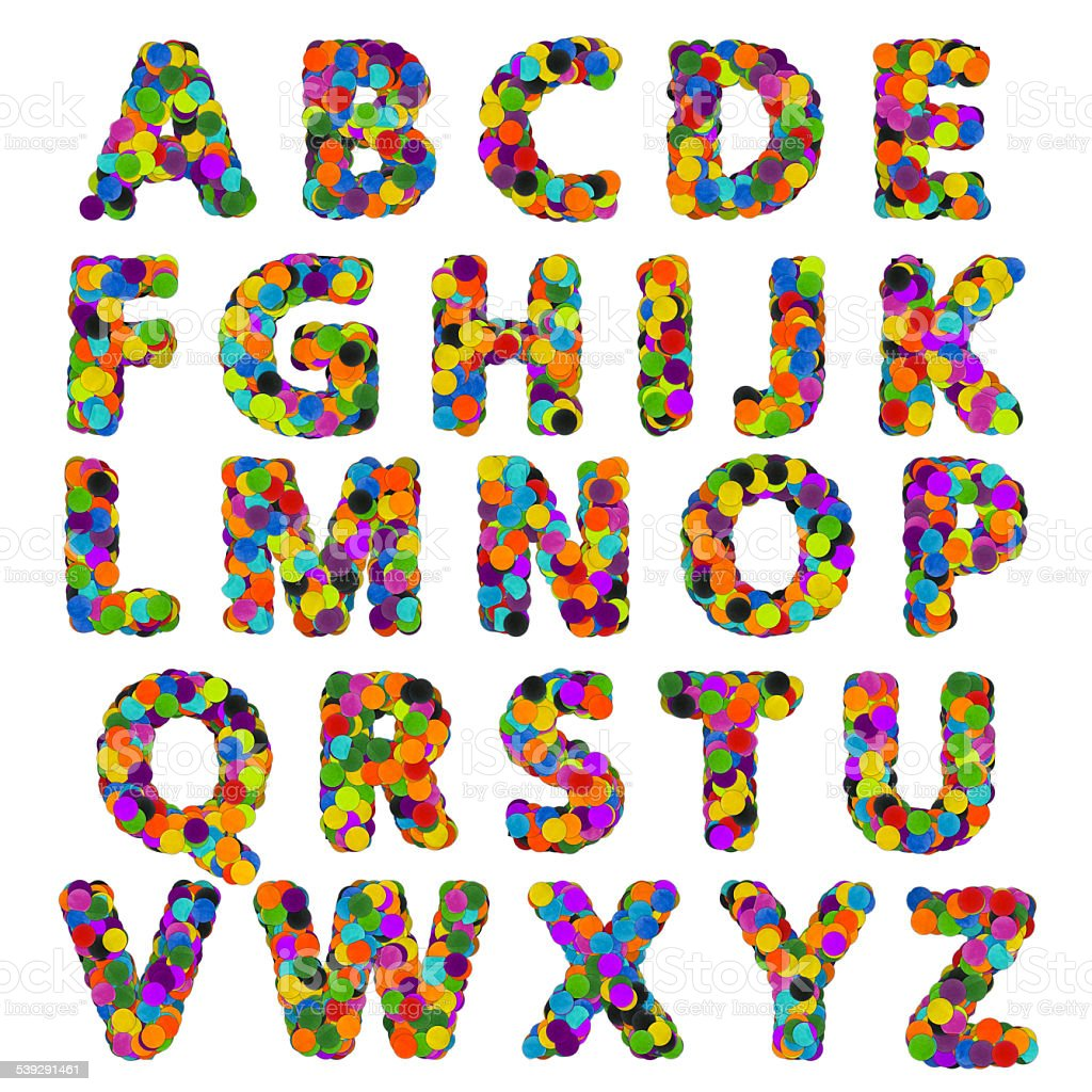 Confetti alphabet stock photo