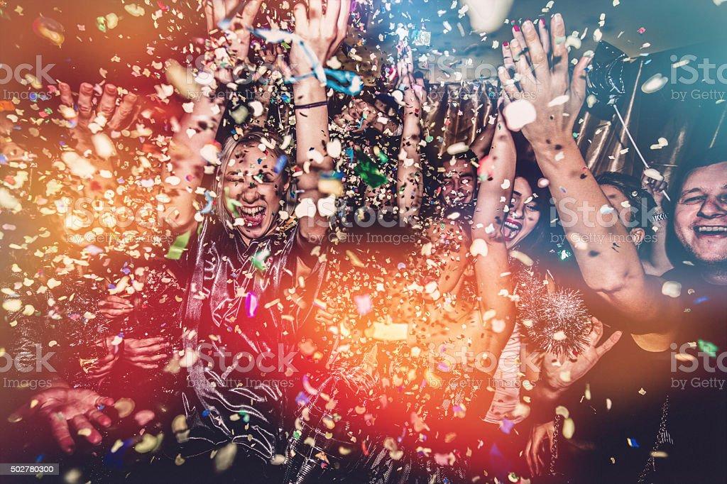 Confetti falling on a dance floor stock photo