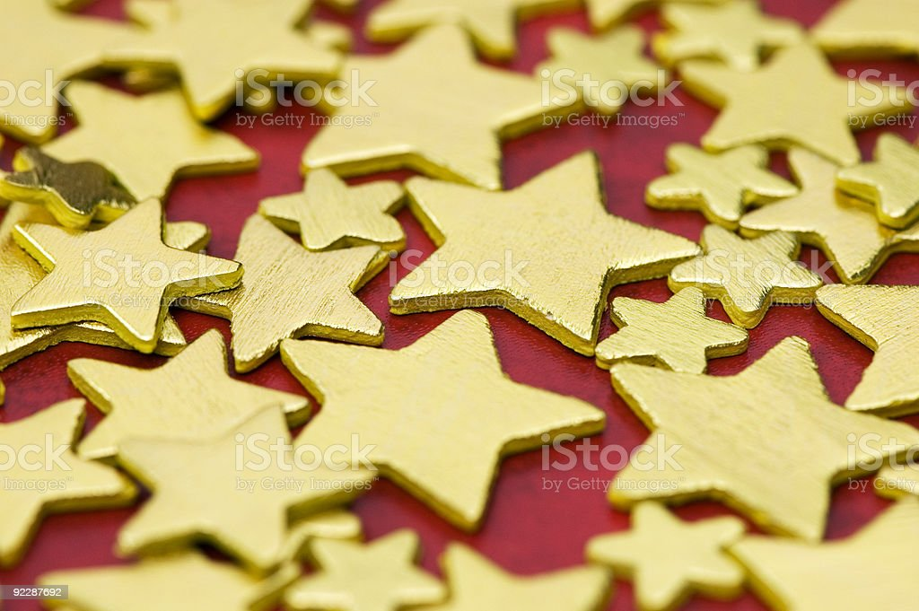Confetti - Golden Stars Close-Up royalty-free stock photo