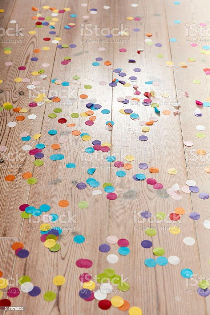 Confetti on the floor stock photo
