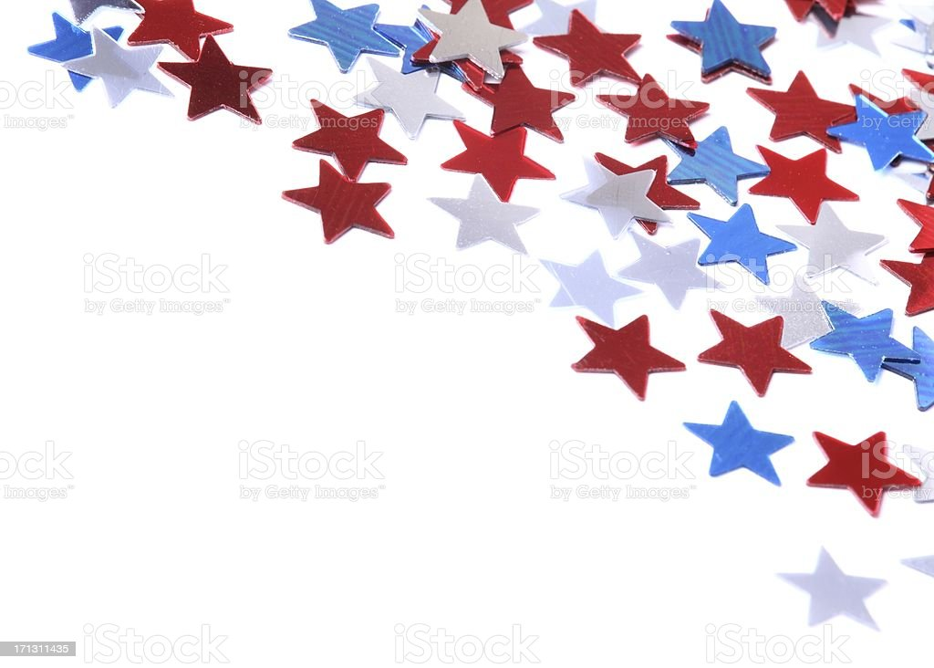 Confetti stars background stock photo