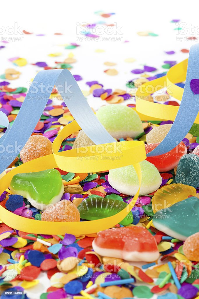 Confetti, streamers and candies royalty-free stock photo