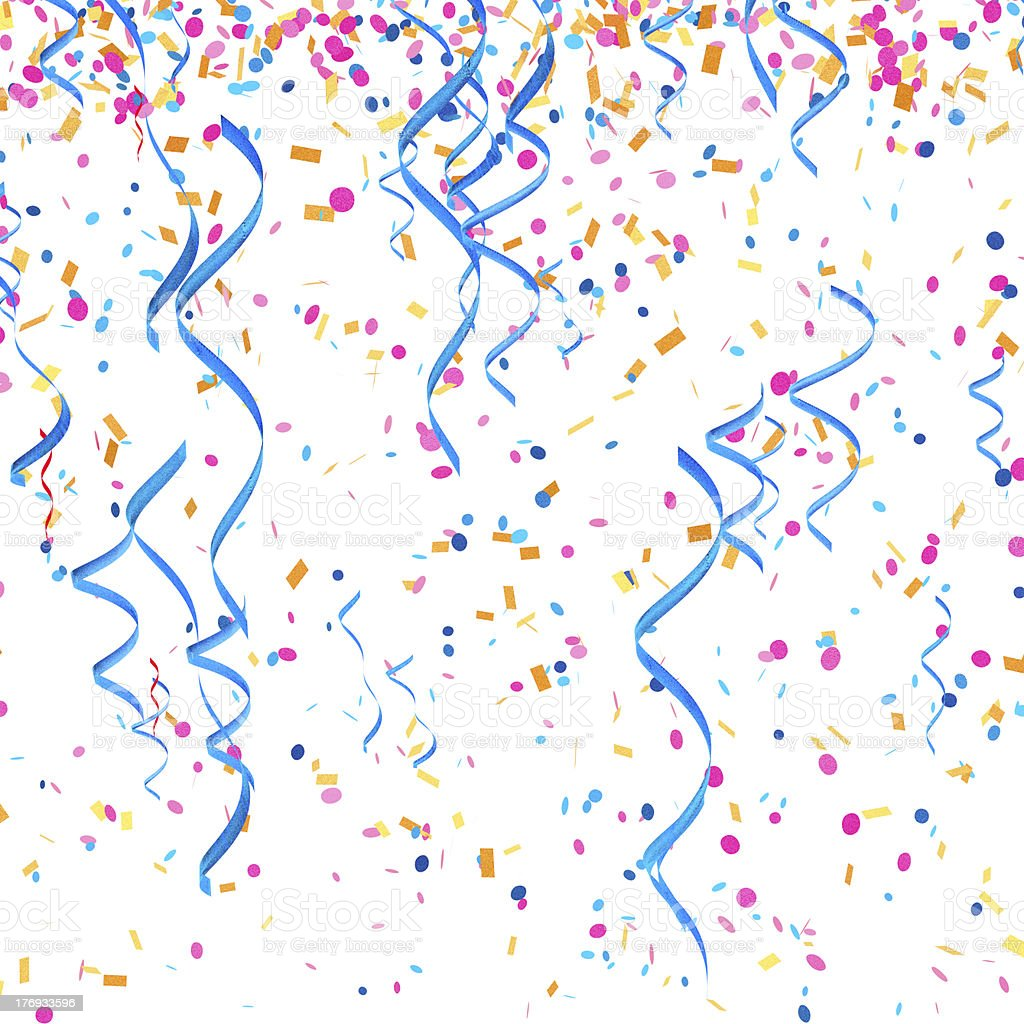 Confetti streamers stock photo