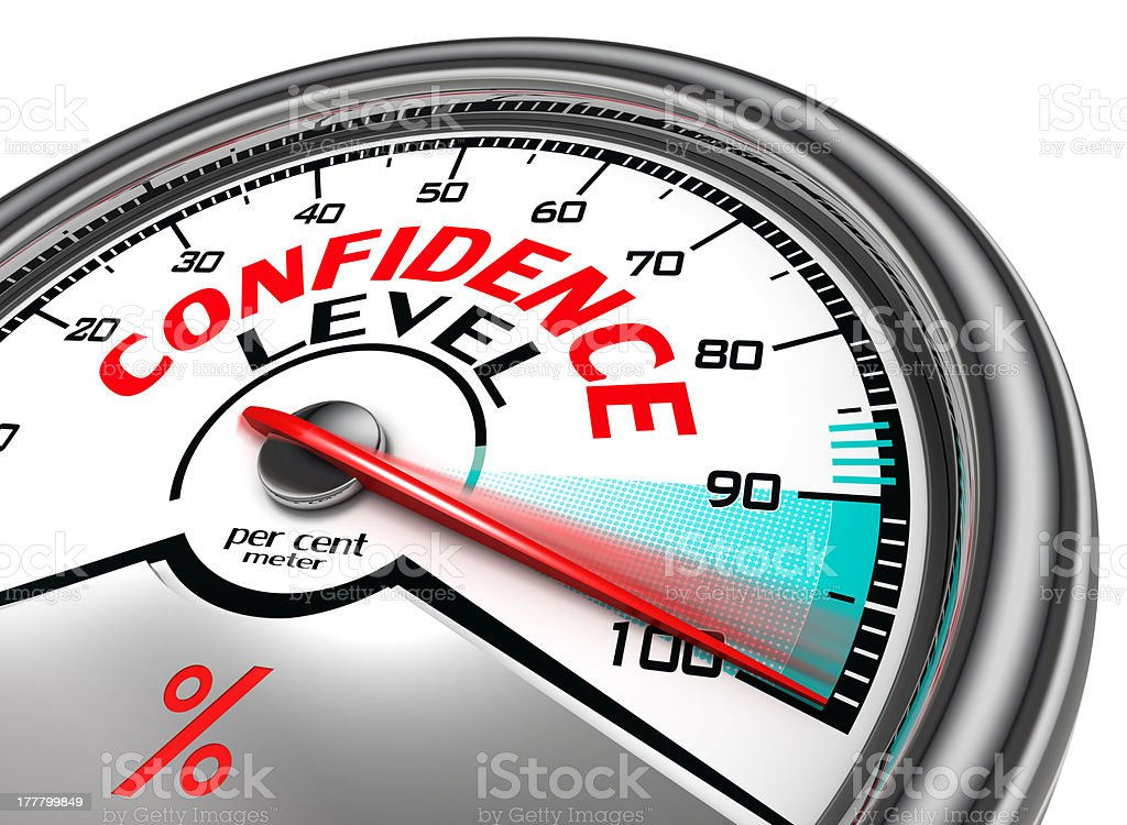 confidence level conceptual meter stock photo