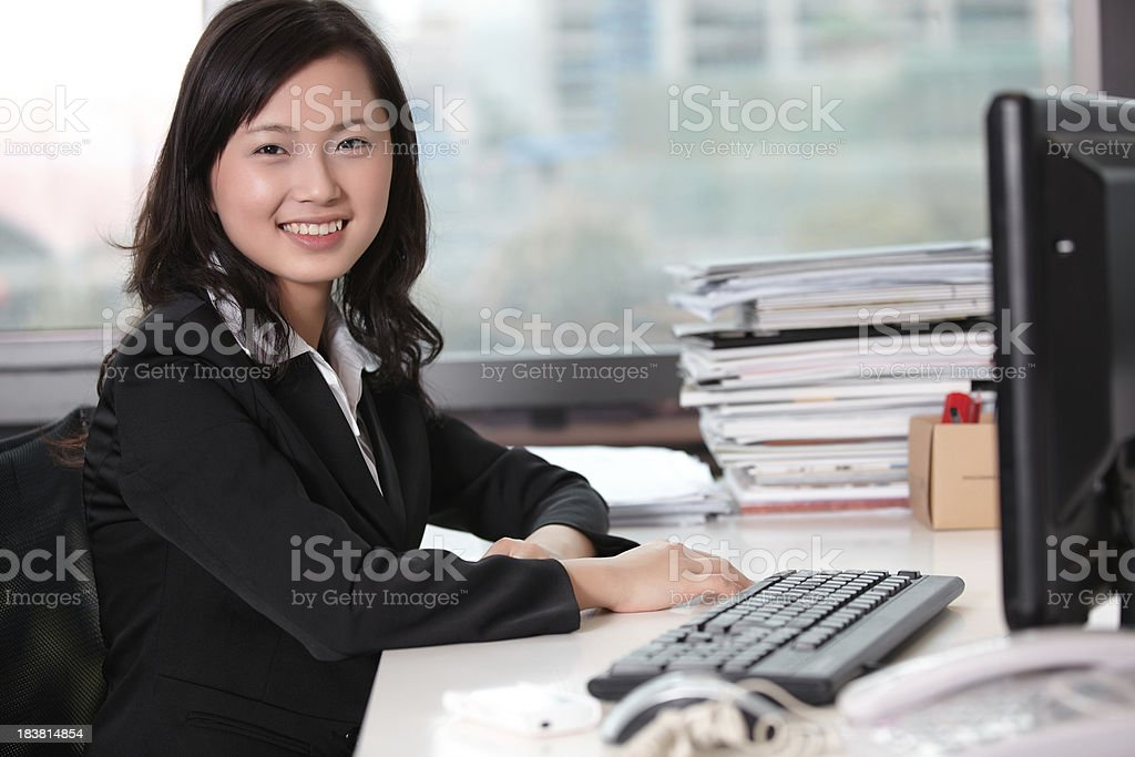 Confidence office lady smiling royalty-free stock photo