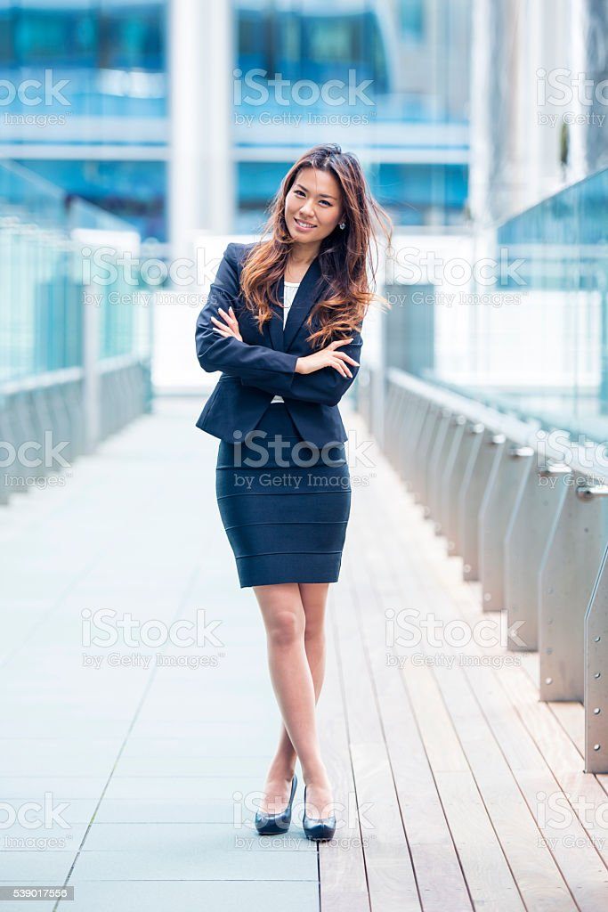 Confident about her business stock photo