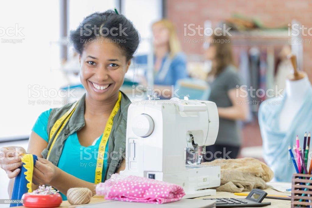 Confident African American fashion designer stock photo