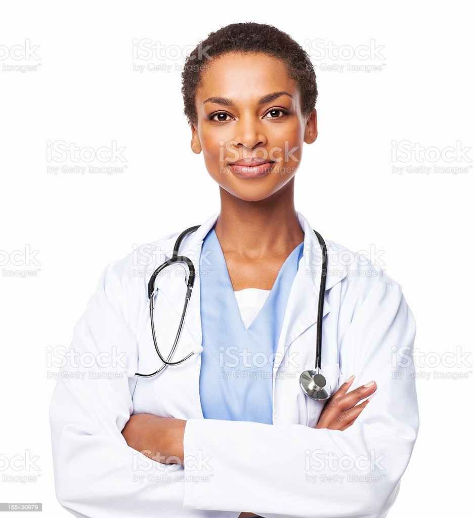 Confident African American Female Doctor With Arms Crossed - Isolated stock photo