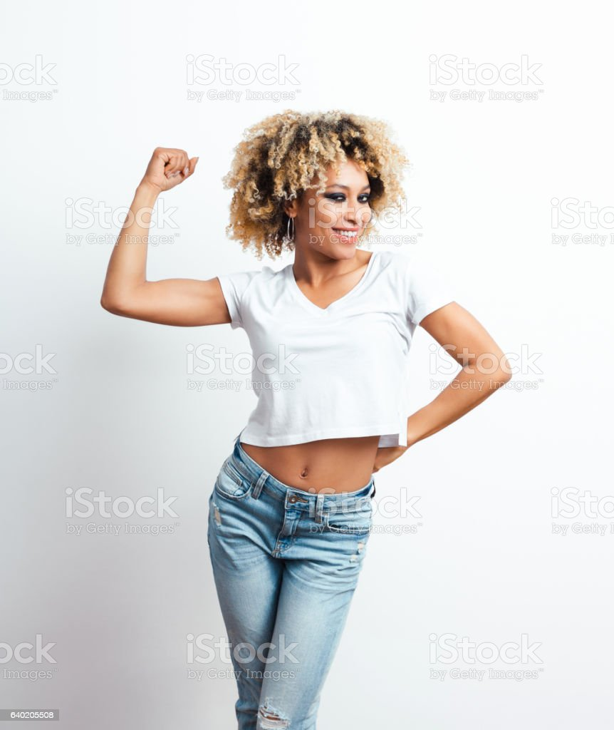Confident afro american young woman stock photo