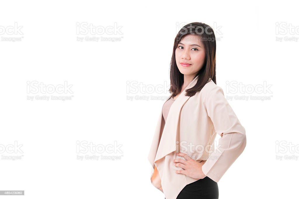 Confident and Beautiful Businesswoman On White Background royalty-free stock photo