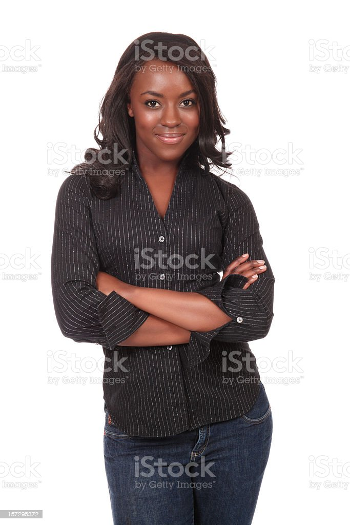 Confident and Casual Young Woman stock photo