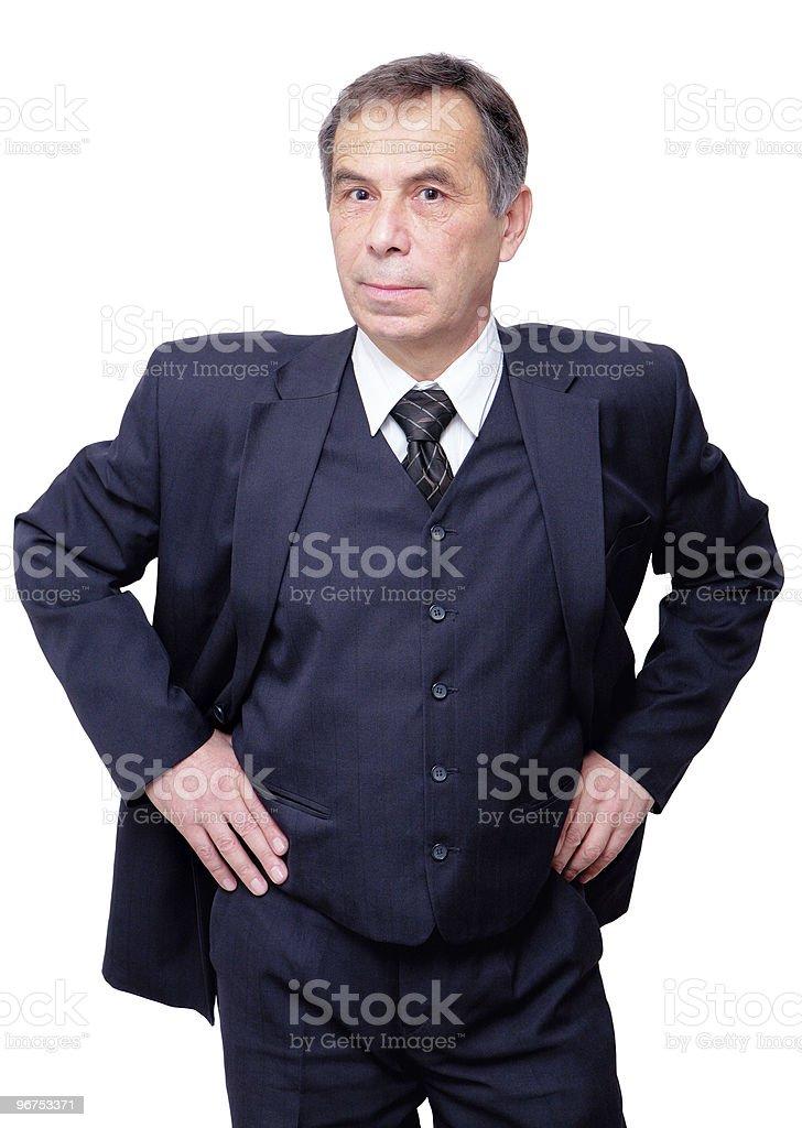 confident and curious senior businessman stock photo