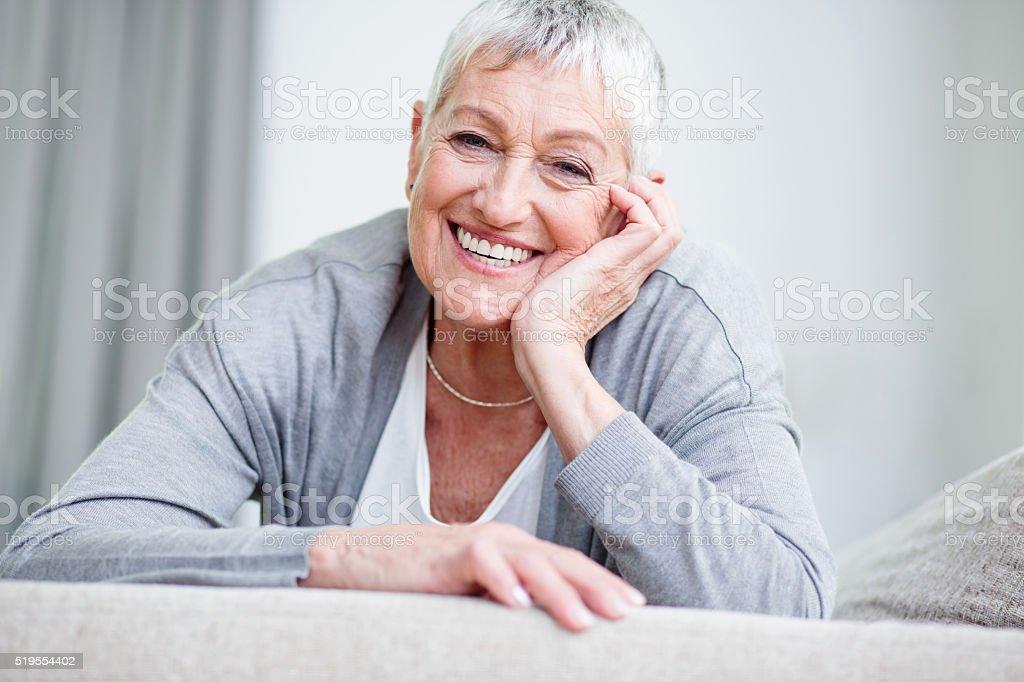 Confident and happy senior woman stock photo