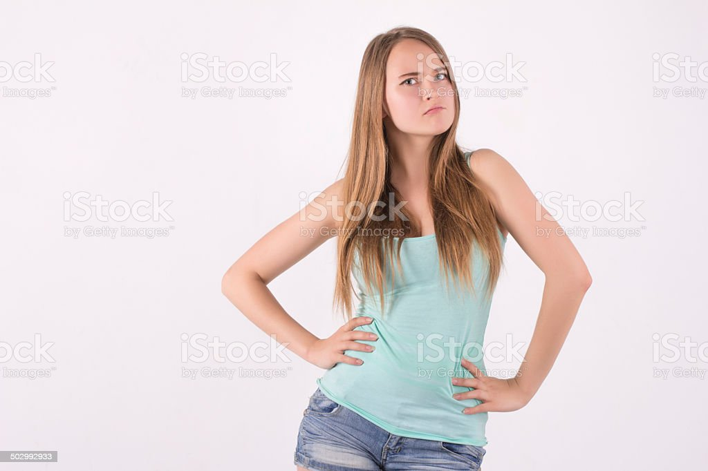 confident angry woman stock photo