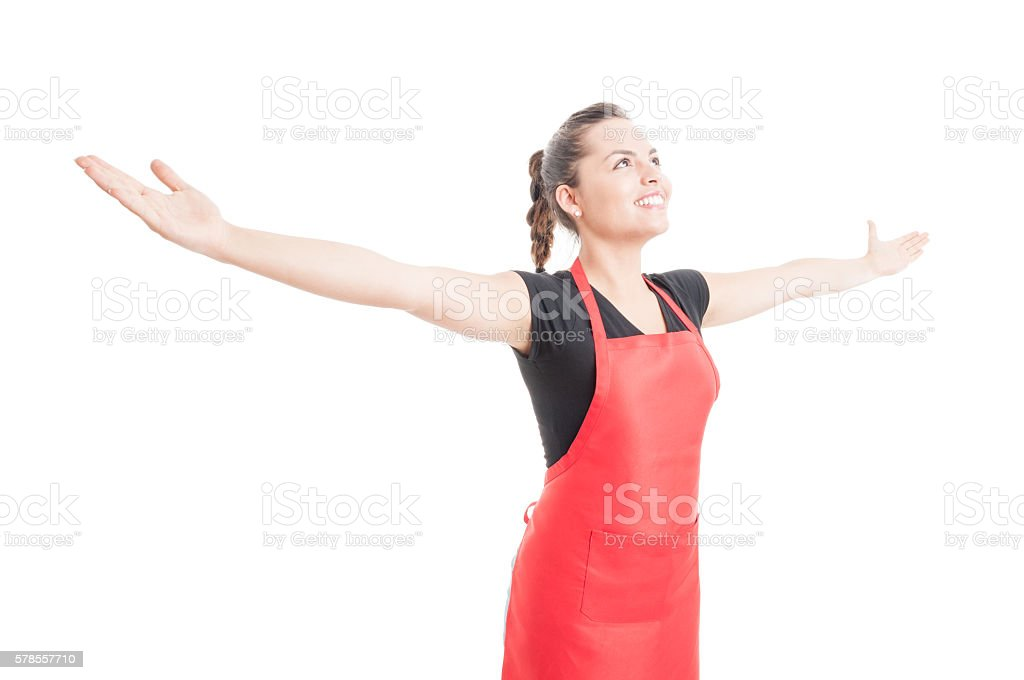 Confident beautiful employee holding arms wide open stock photo