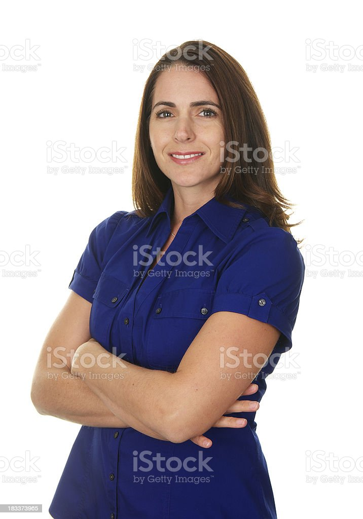 Confident Beautiful Smiling Woman On White Background royalty-free stock photo