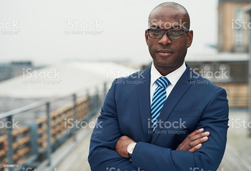 Confident black business man stock photo