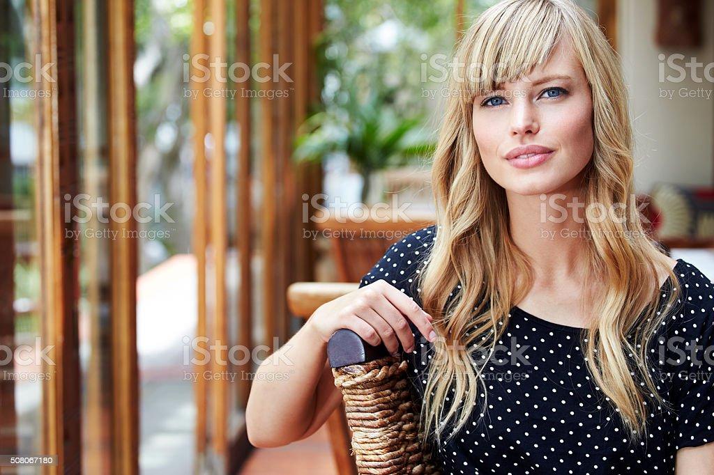 Confident blond woman stock photo