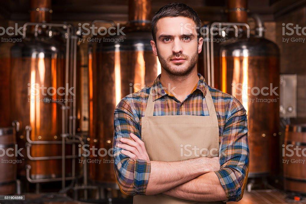 Confident brewer. stock photo