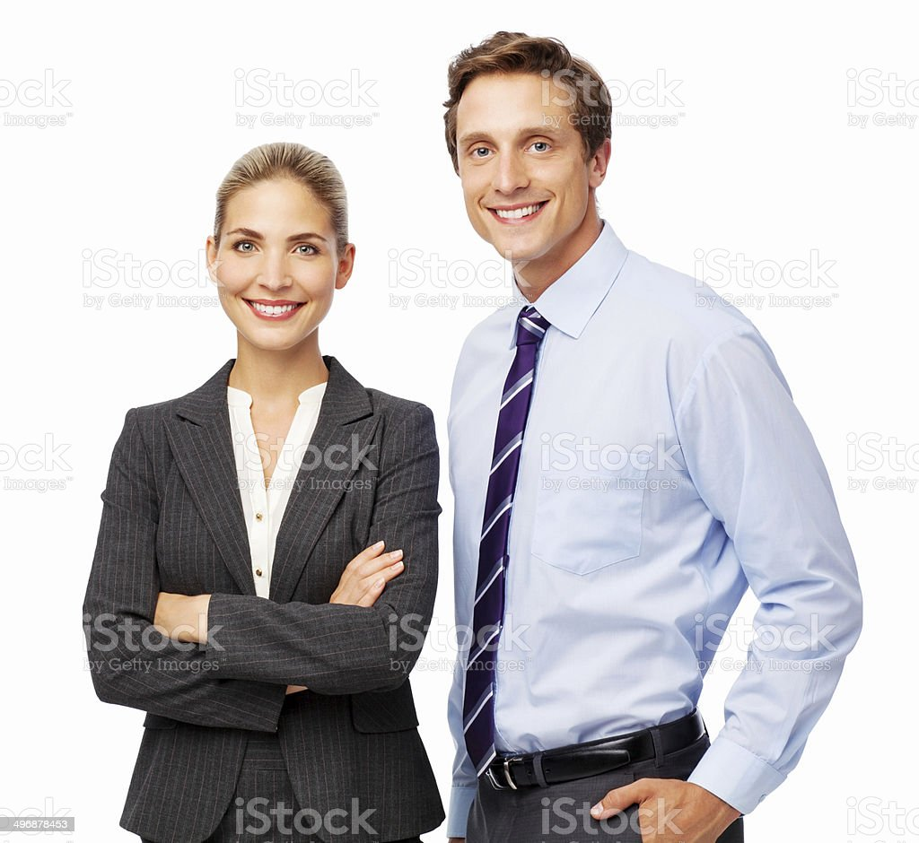 Confident Business Colleagues Smiling Together royalty-free stock photo