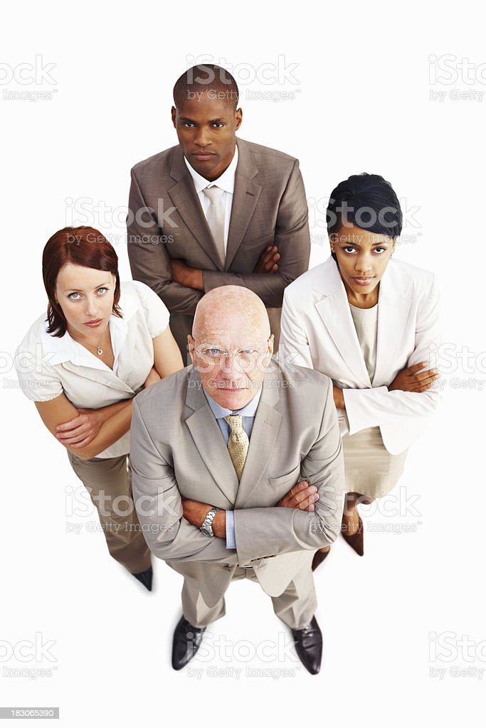 Confident business colleagues standing with arms crossed royalty-free stock photo