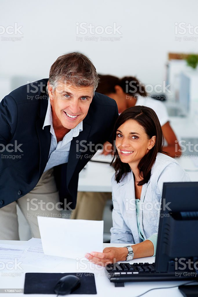 Confident business man and business woman stock photo