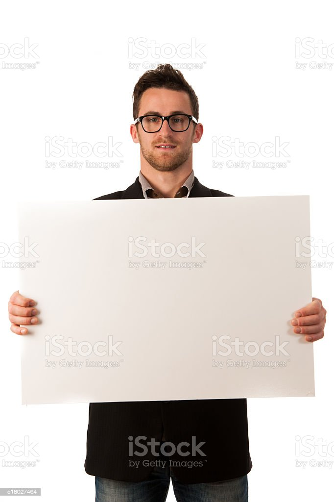 Confident business man holding big blank board to advertise stock photo