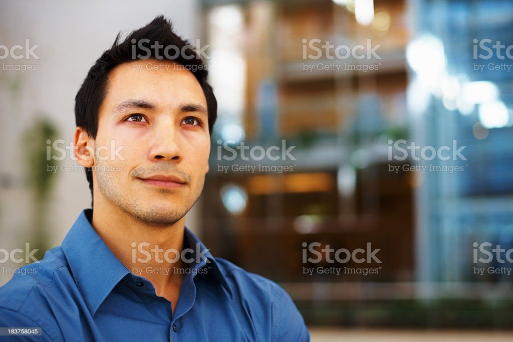 Confident business man in blue shirt royalty-free stock photo