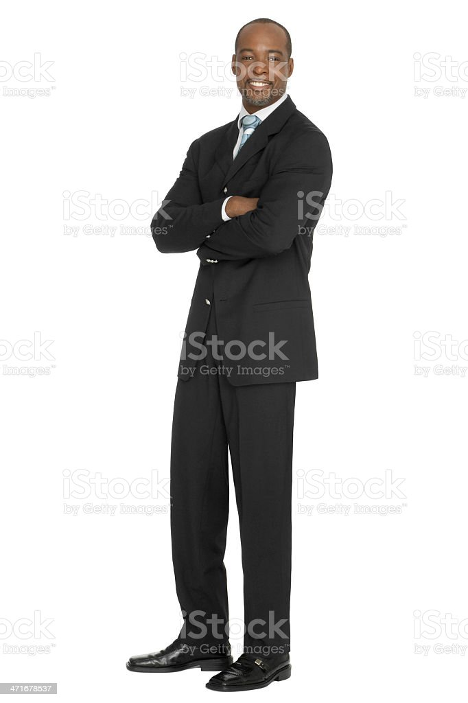 Confident Businessman Arms Crossed On White Background stock photo