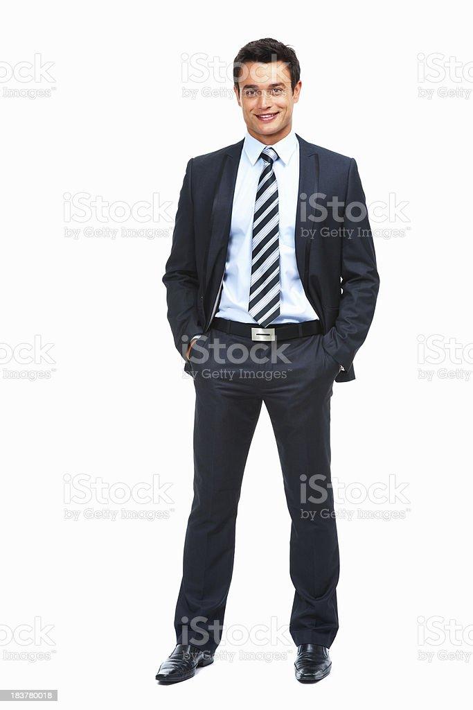 Confident businessman posing on white background royalty-free stock photo