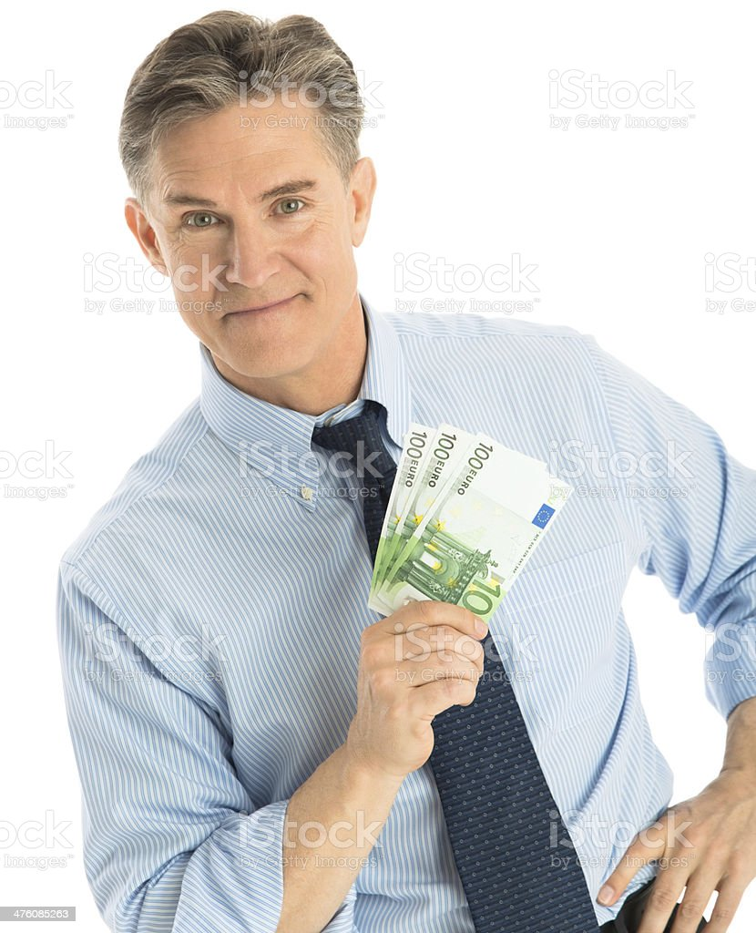 Confident Businessman Showing One Hundred Euro Banknotes royalty-free stock photo