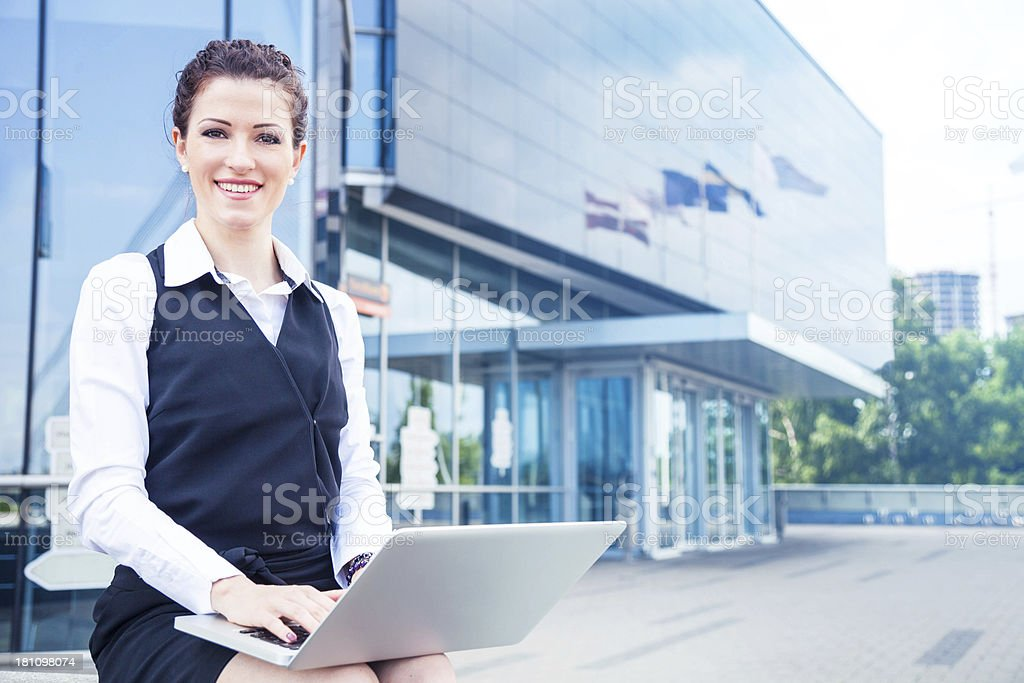 Confident businesswoman before a meeting stock photo