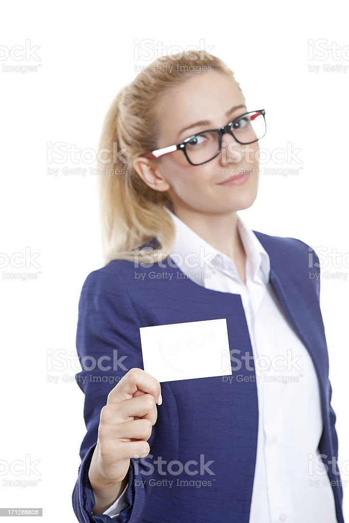 Confident Businesswoman Holding Blank Credit Card on White royalty-free stock photo