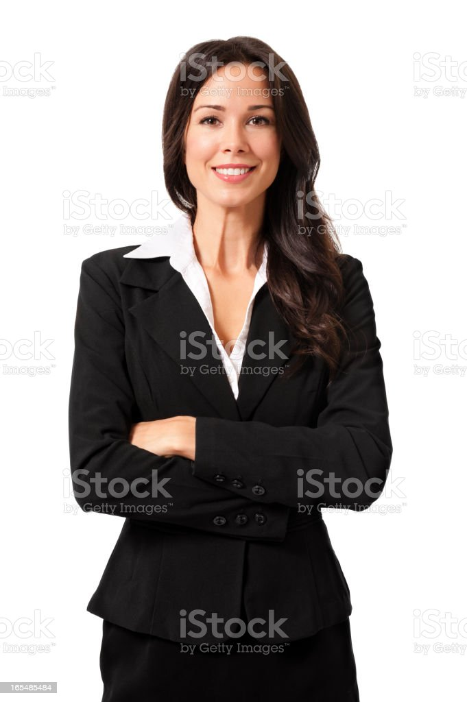 Confident Businesswoman Isolated on White Background royalty-free stock photo