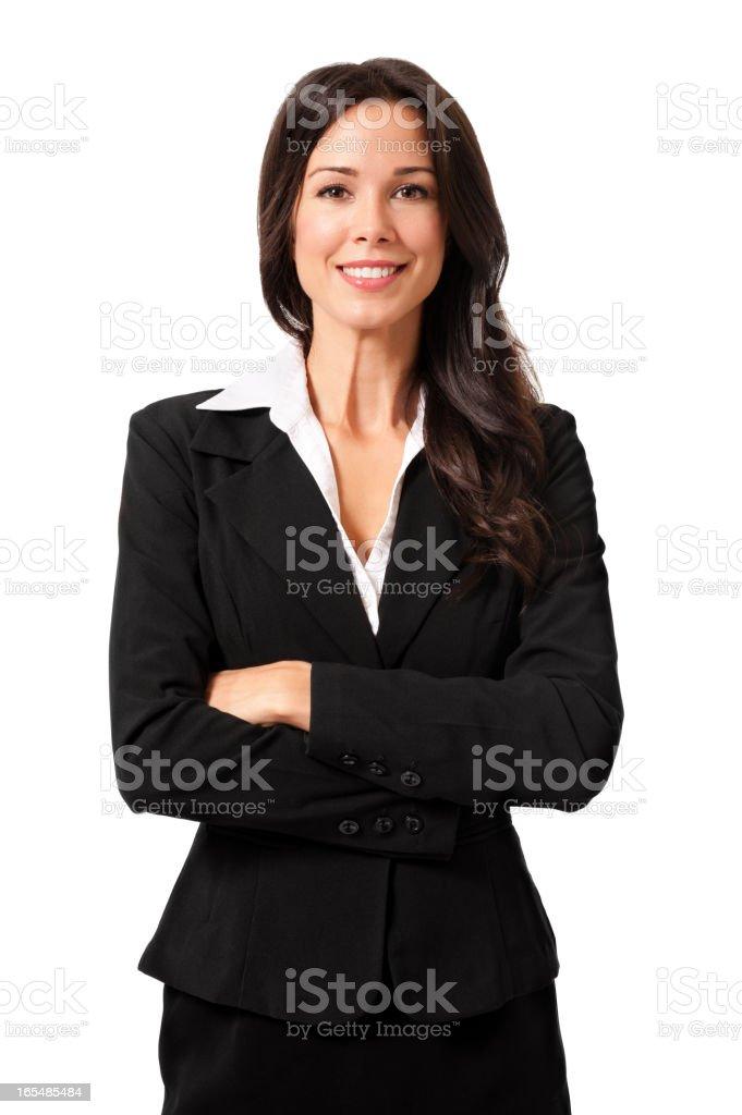 Confident Businesswoman Isolated on White Background stock photo