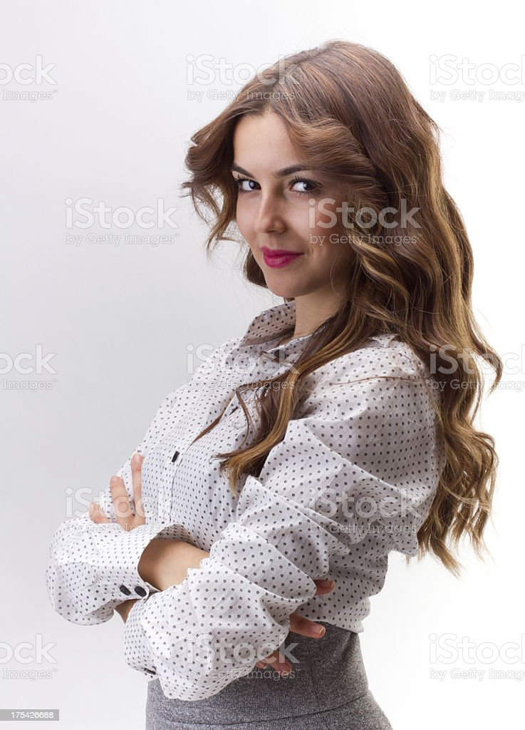Confident Businesswoman On A White Background royalty-free stock photo