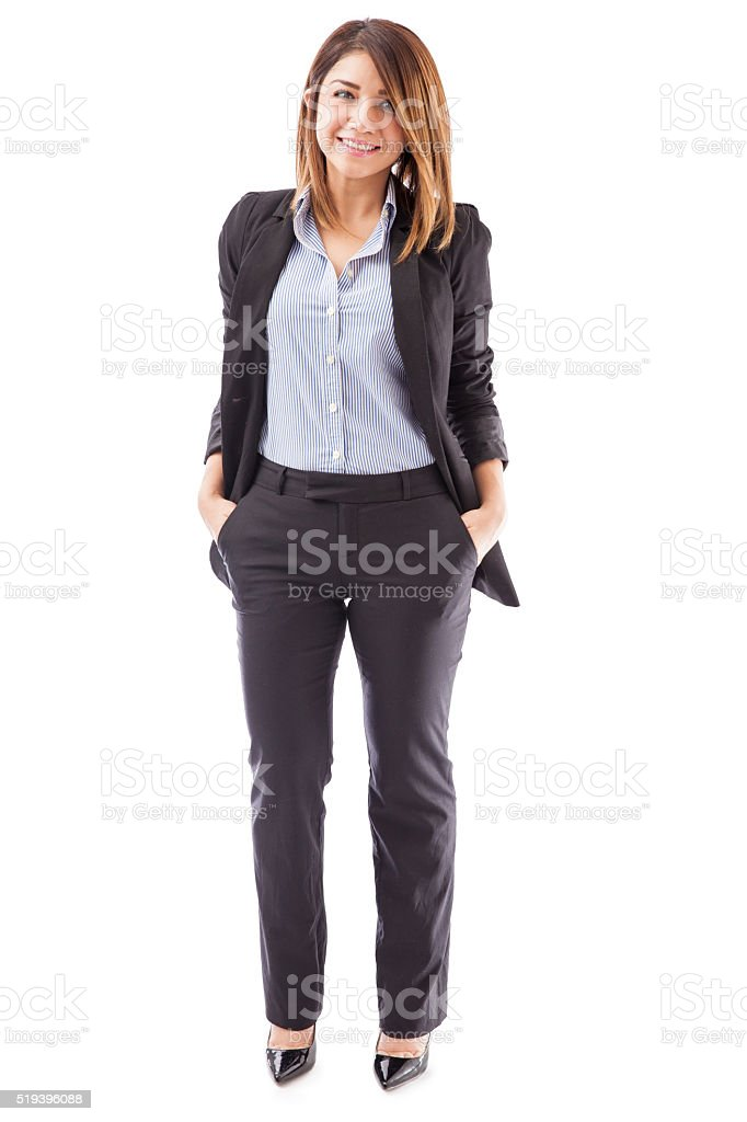Confident businesswoman on white background stock photo
