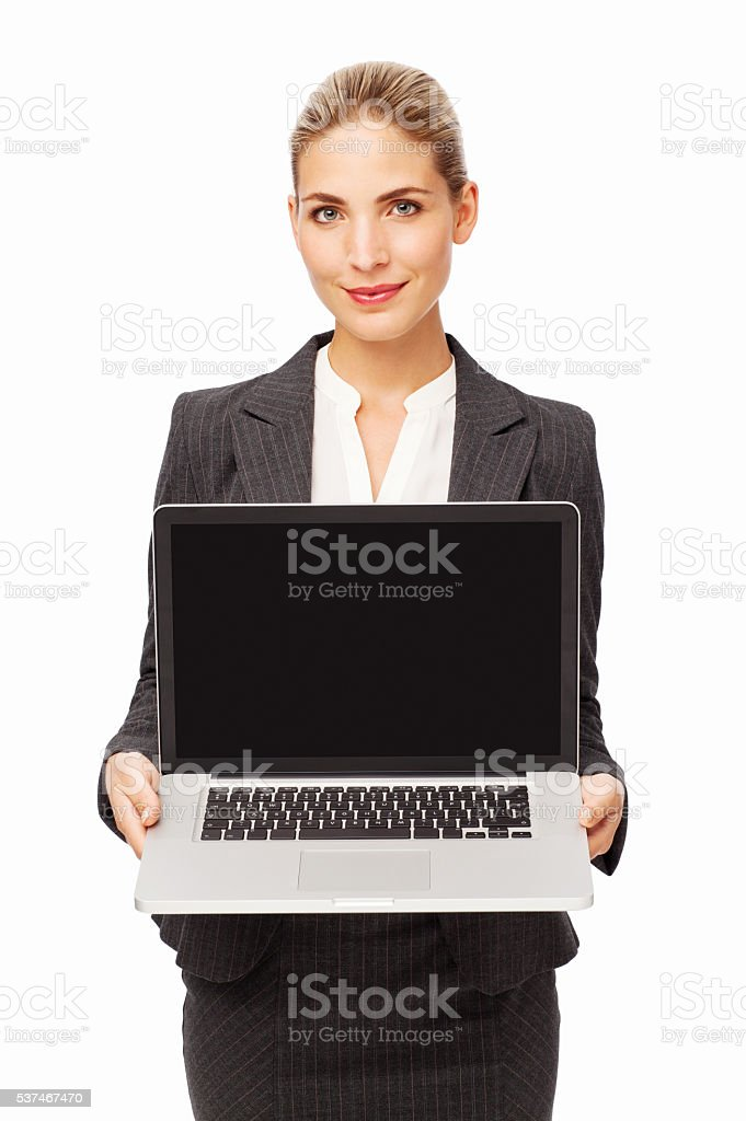 Confident Businesswoman Showing Laptop stock photo