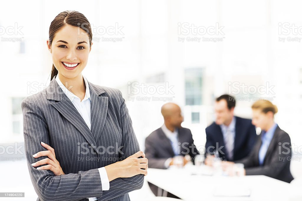 Confident Businesswoman Standing Arms Crossed royalty-free stock photo