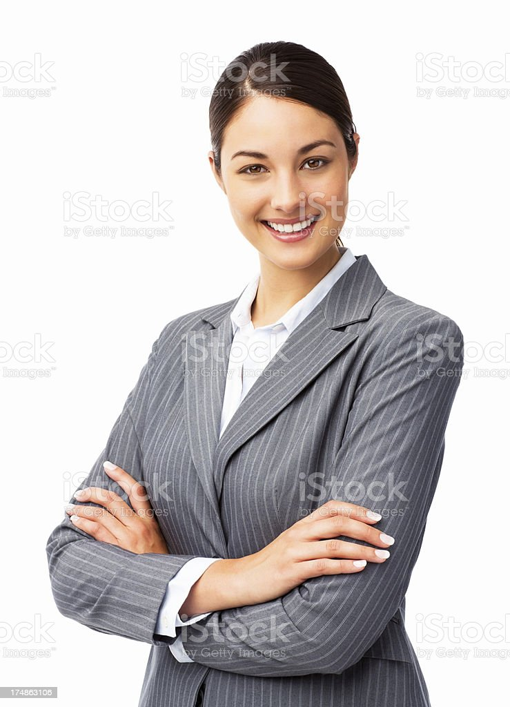 Confident Businesswoman Standing With Arms Crossed - Isolated royalty-free stock photo