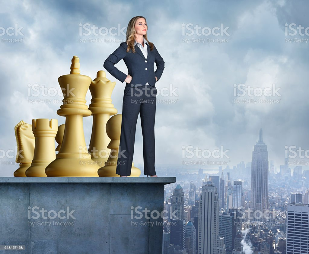 Confident Businesswoman Stands Ready To Take On World stock photo