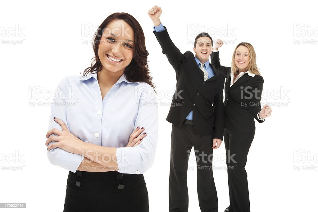 Confident Businesswoman with Enthusastic Team royalty-free stock photo