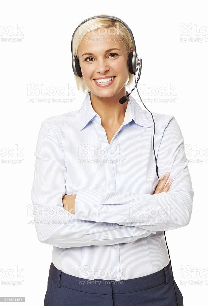 Confident Call Center Representative Wearing Headset royalty-free stock photo