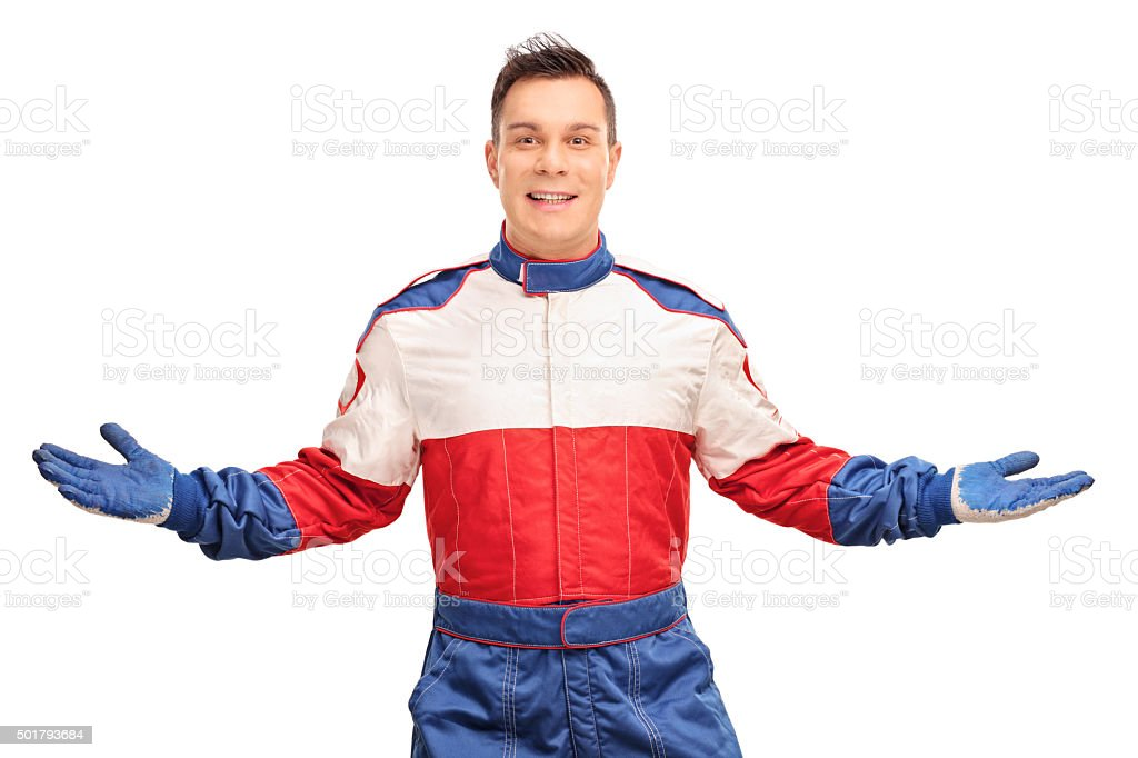 Confident car racer gesturing with hands stock photo