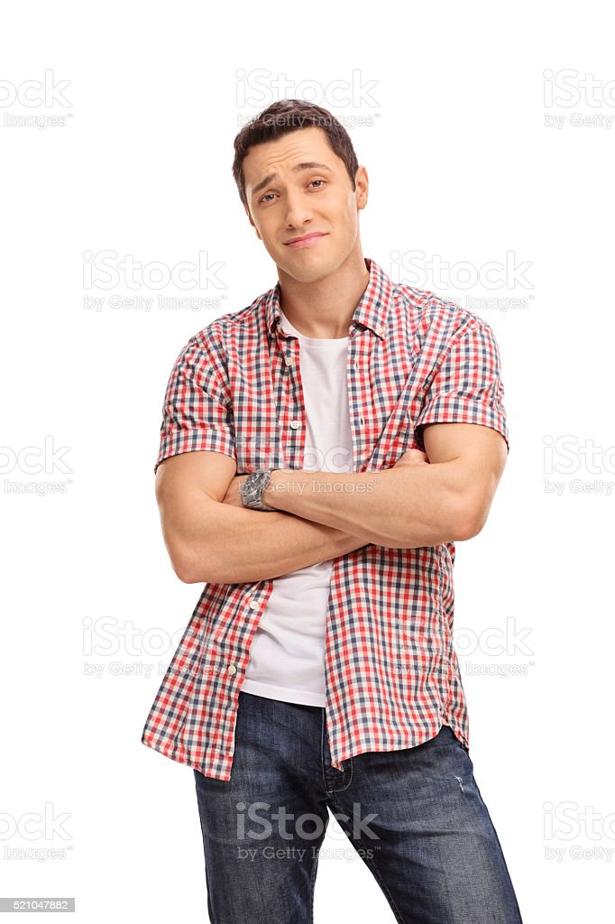 Confident casual guy with an attitude stock photo