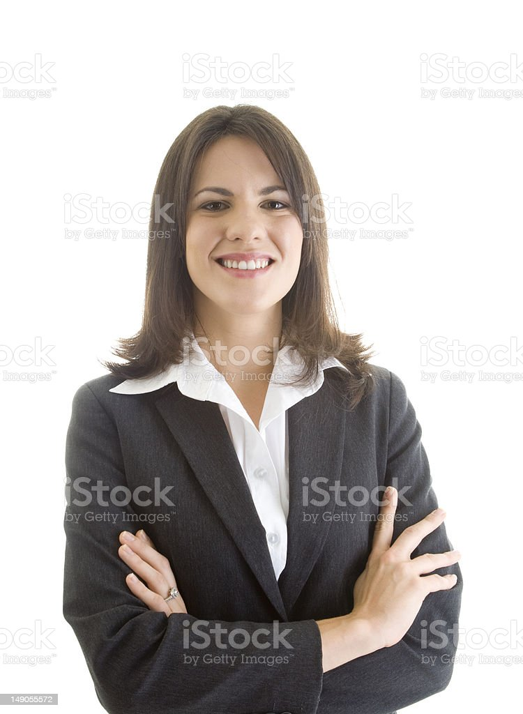 Confident Caucasian Business Woman in Suit, Arms Crossed, White Background royalty-free stock photo