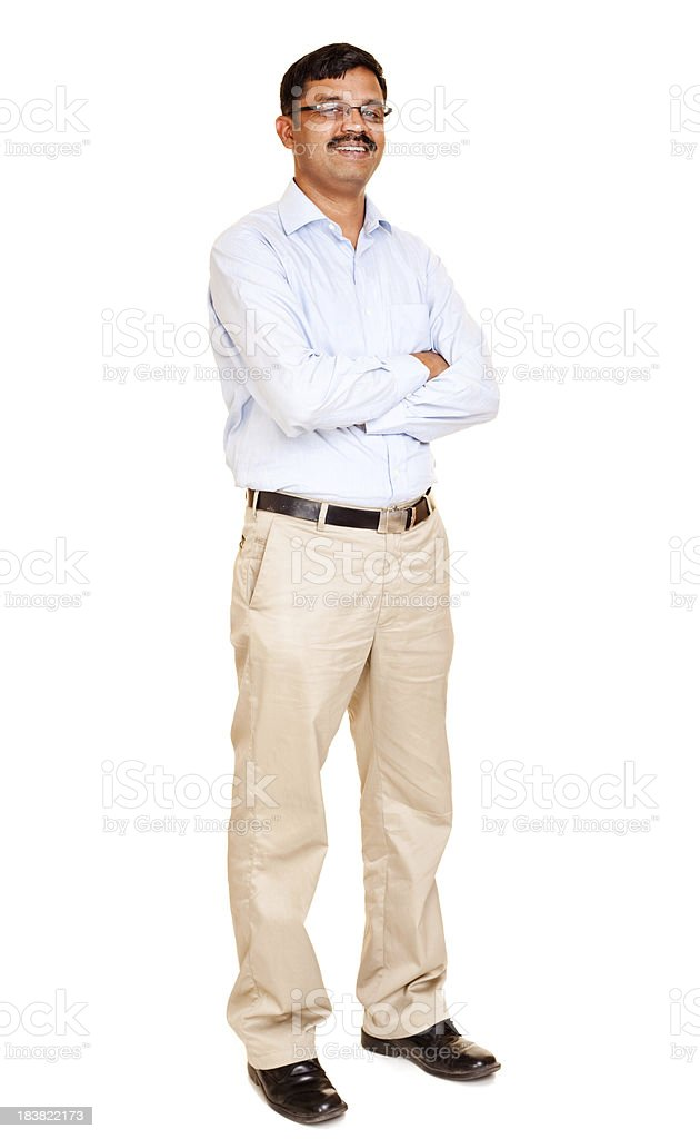 Confident Cheerful Mid Adult Indian Man Isolated on White royalty-free stock photo