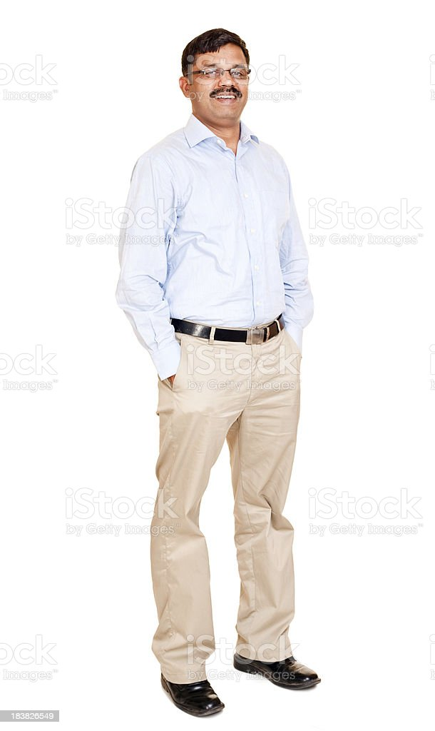 Confident Cheerful Mid Adult Indian Man Isolated on White stock photo