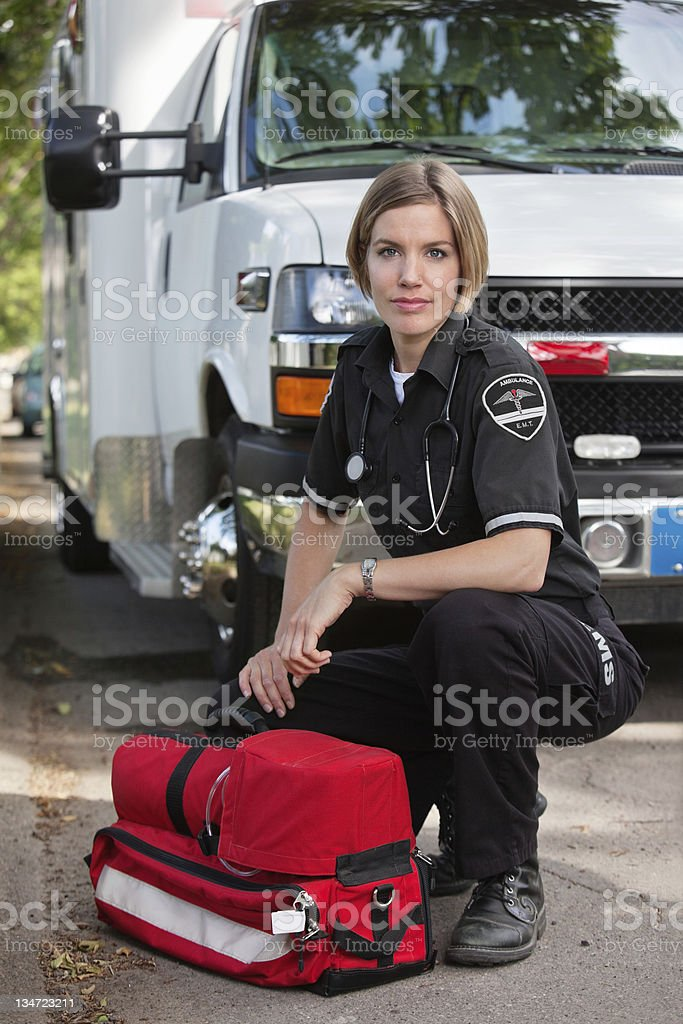 Confident EMS Paramedic Woman stock photo