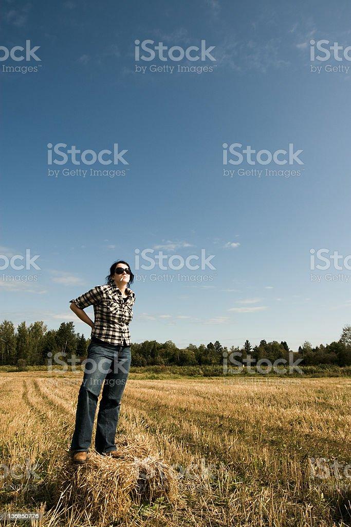 Confident farmer smoking stock photo